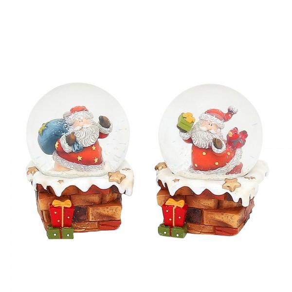 Polyresin Schneekugel Santa auf Schornstein 2-fach sort. 7 x 7 x 9 cm Ø 6,5 cm im Set