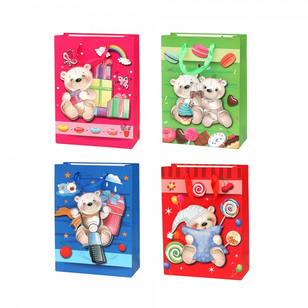 Papier Tragetasche Bärenmotive 4-fach sort. 18 x 8 x 24 cm 3D im Set