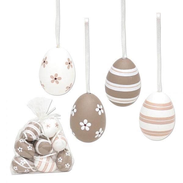 12er Set Plastik Eier Kaffee im Netz mit Anhänger, Motive 4-fach sort. 3 x 3 x 6 cm im Set