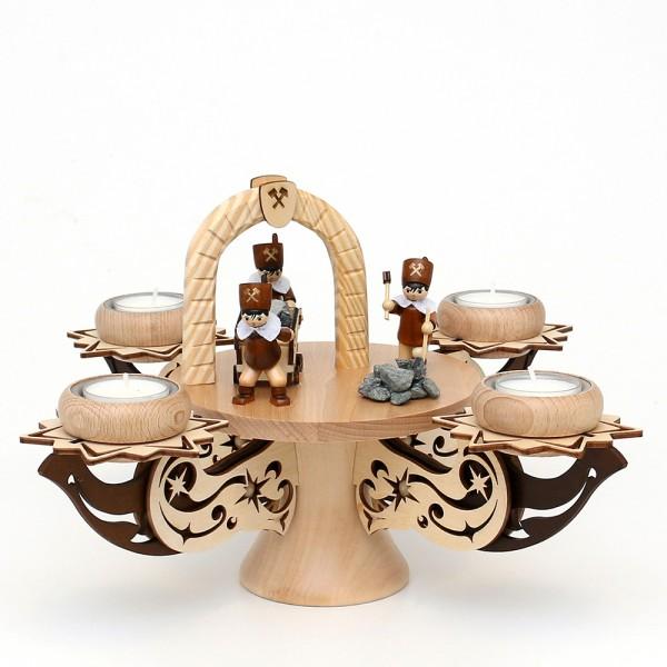Holz Adventsleuchter, hochwertig, Bergleute, natur/braun, edel verziert, für 4 Teelichte 28 x 28 x 21 cm