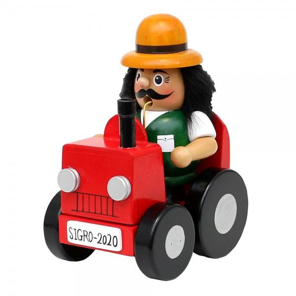 Holz Räuchermann Bauer im Traktor 16 x 9 x 11,5 cm