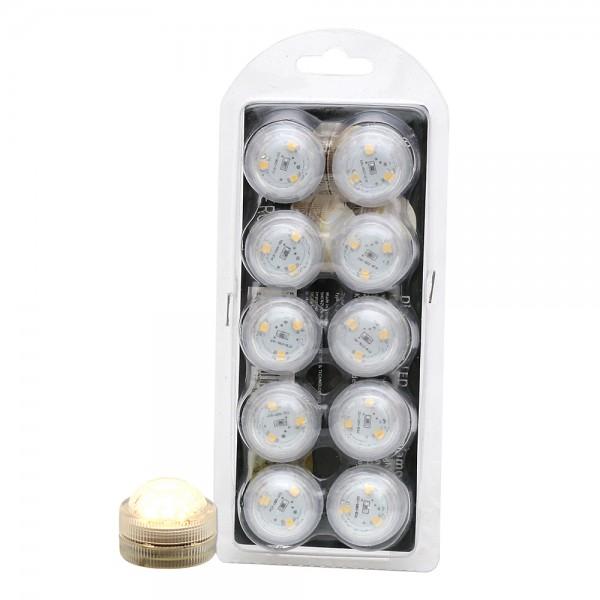 10er Set Kunststoff LED-Licht klein mit 3 Dioden zum Drehen wasserfest warmweiß 3 x 3 x 2,5 cm Ø 3 cm LED