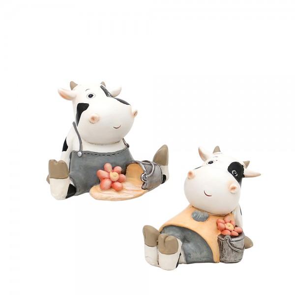 Polyresin Kuh Frau & Mann sitzend 2-fach sort. 9 x 6,8 x 7,5 cm im Set