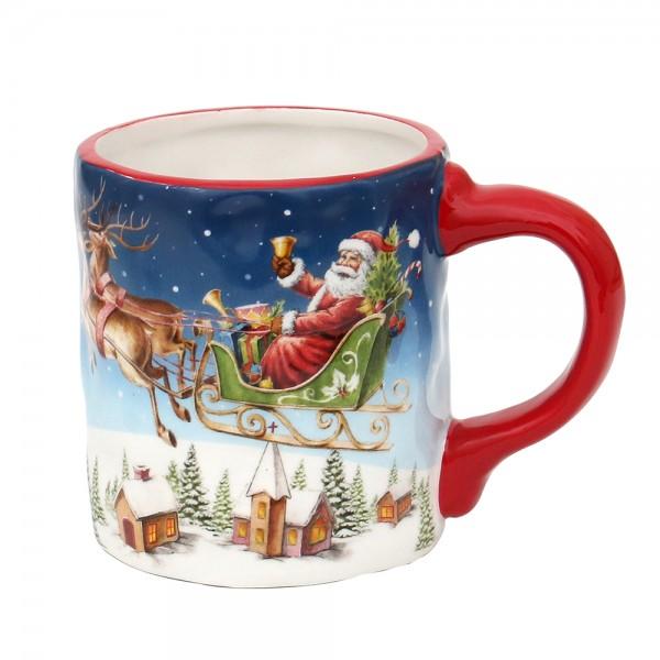 Dolomite Kaffeepot Santa auf Rentierschlitten 14,8 x 10 x 11 cm