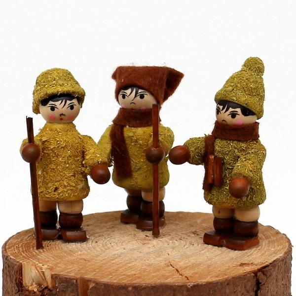 3er Set Holz Winterfiguren Moosma & Moosfra 2,5 x 2,5 x 5,5 cm