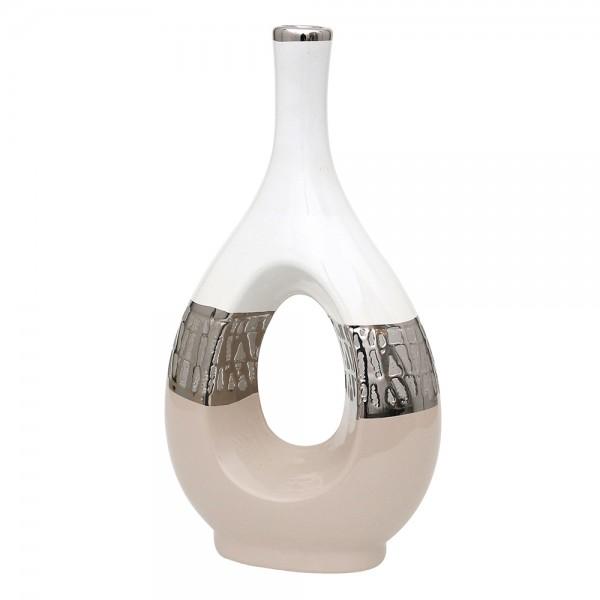 Keramik Vase Cappuccino oval mit Loch silber/weiß 18 x 9 x 33,5 cm