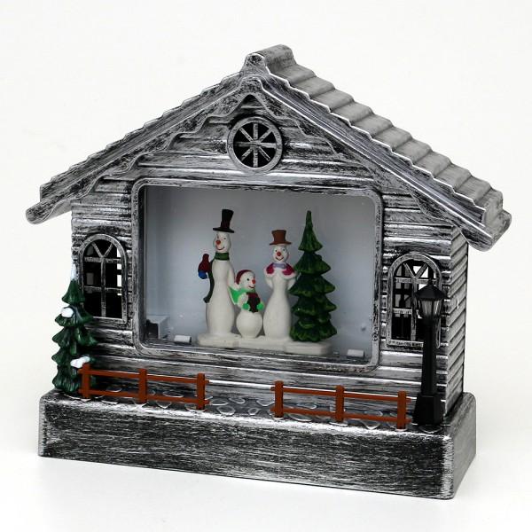 Acryl LED Haus, mit Schneemannfamilie, silber 23 x 9 x 26 cm Batteriebetrieb AA, Netzanschluss 5 V, LED, Glitterwirbel, Sound
