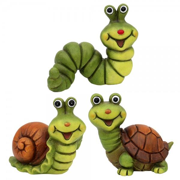 Keramik Dekofiguren Schnecke, Schildkröte, Raupe 3-fach sort. 14,5 x 10,5 x 13,5 cm im Set