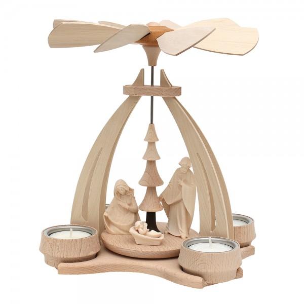 Holz Tischpyramide mit Heiliger Familie Figuren aus Südtirol für 4 Teelichte 14 x 18 x 24 cm