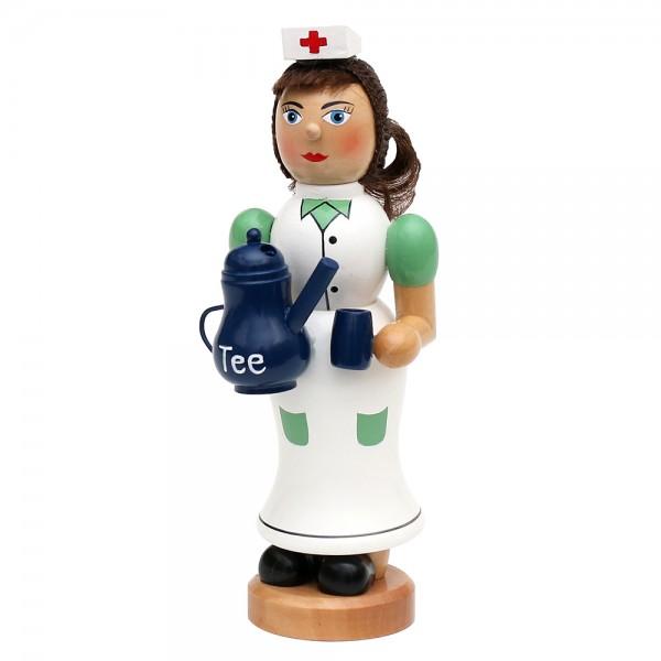 Holz Räucherfrau Krankenschwester mit dampfender Teekanne & Tasse 7 x 8 x 19 cm