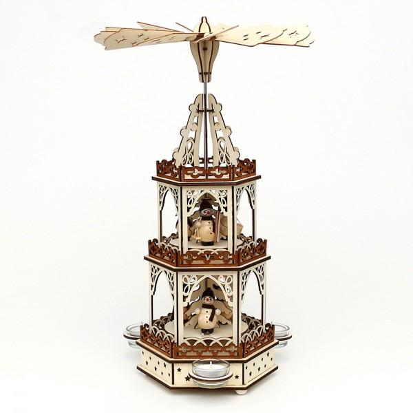 Holz Teelichtpyramide Schneemänner 3 Etagen (Laserholz) für 3 Teelichte 19 x 16,5 x 42 cm