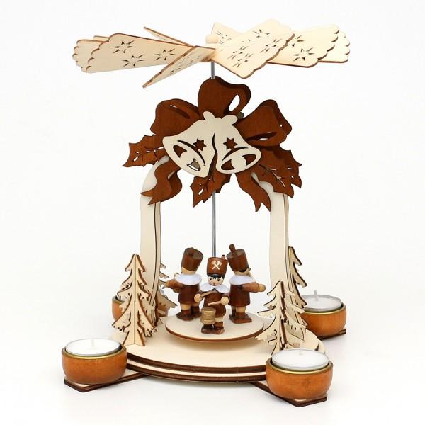 Holz Teelichtpyramide Glocke natur/braun, mit Bergleuten (Laserholz) für 4 Teelichte 19 x 19 x 25 cm
