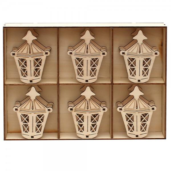 6er Set Holz Aufsatz für Spitzkerzen Laterne (Laserholz) 6 x 3 x 8 cm
