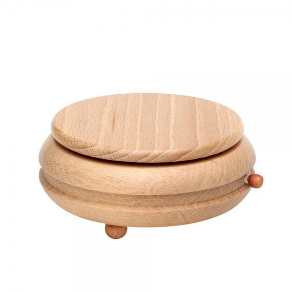 Holz Spieldose gedrechselt leer zum selbst bestücken 13 x 13 x 6,5 cm Spielwerk Leise rieselt der Schnee, Spielwerk Oh du Fröhliche