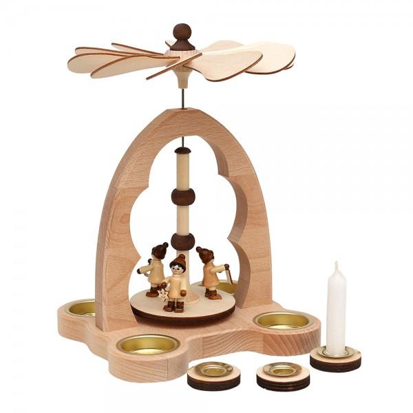 Holz Teelicht-Tischpyramide Winterfiguren für 4 Teelichte inkl. 4 Pyramidenkerzen-Adapter (Buchenholz) 16 x 18 x 24 cm
