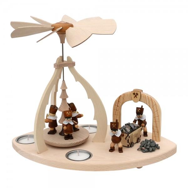 Holz Erzgebirgs-Tischpyramide mit Szene Bergleute und Stollen für 3 Teelichte 32 x 19,5 x 25 cm