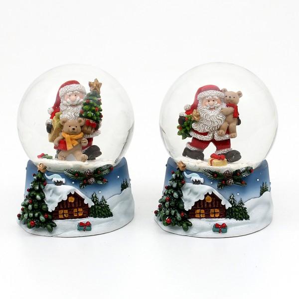Polyresin Schneekugel Santa und Weihnachtliche Winterlandschaft auf blauem Sockel 2-fach sort. 6,5 x 7 x 9 cm Ø 6,5 cm im Set
