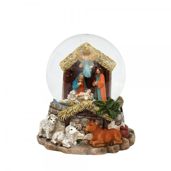 Polyresin Schneekugel Heilige Familie 12,5 x 12,5 x 14 cm Ø 10 cm Batteriebetrieb AAA, LED, Farbwechsel, Glitterwirbel, Sound