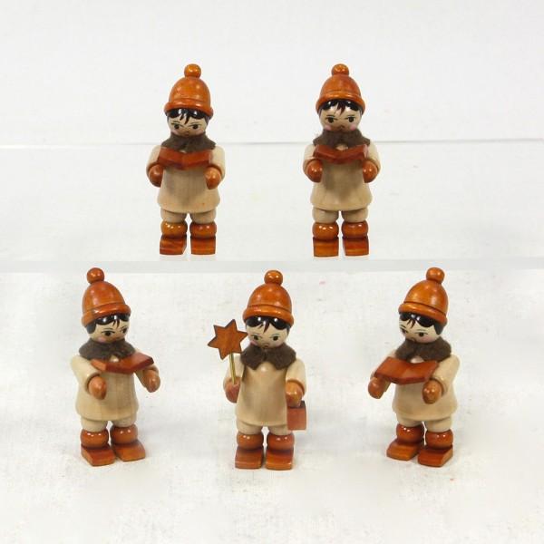 5er Set Holz Kurrendekinder, braun 2,5 x 2,5 x 5,5 cm