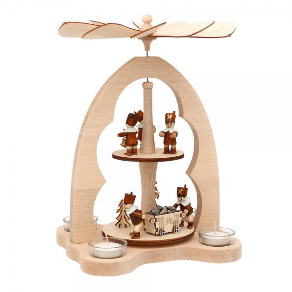 Holz Teelicht-Tischpyramide Bergarbeiter für 4 Teelichte (Buchenholz) 23 x 20 x 33 cm