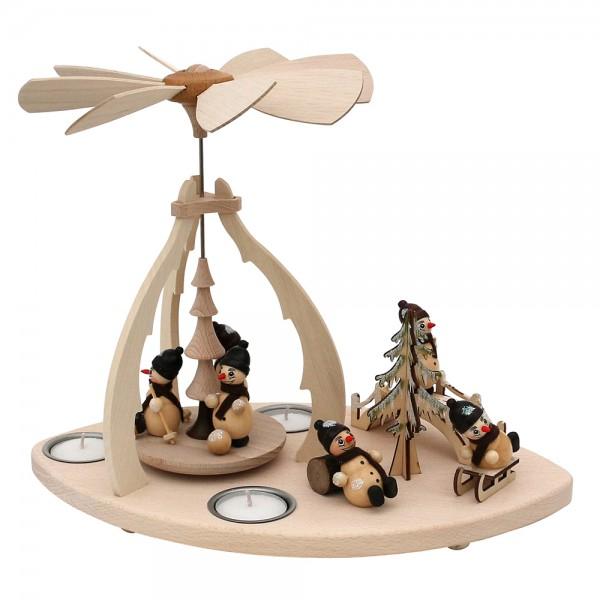Holz Tischpyramide mit Szene Schneemannfiguren für 3 Teelichte 32 x 19,5 x 25 cm