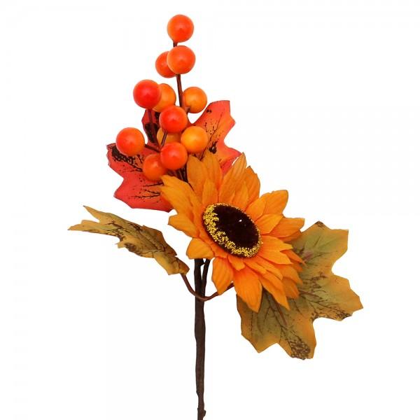 Plastik Herbst-Deko-Pic Sonnenblume 15 x 12 x 24 cm