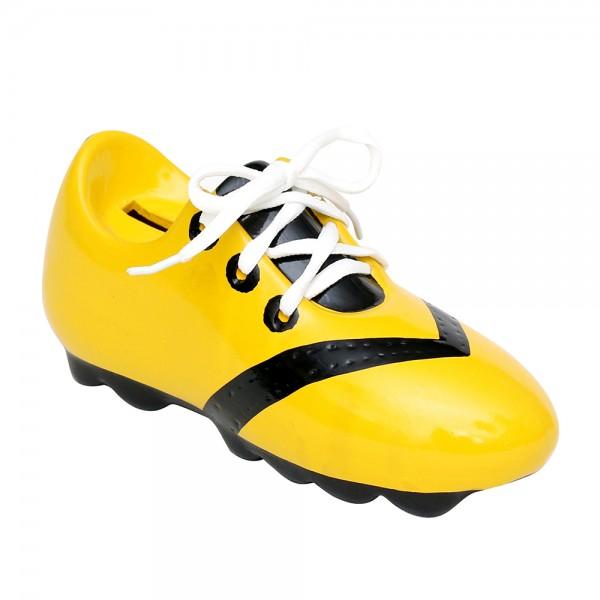 Keramik Spar-Fußballschuh mit Schnürsenkel, gelb/schwarz 21 x 8 x 9,5 cm