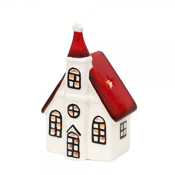 Dolomite Windlichthaus Kirche weiß/rot glasiert 8 x 6 x 13 cm