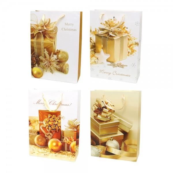 Papier Tragetasche Geschenk Motive gold mit Glitter 4-fach sort. 26 x 10 x 32 cm im Set