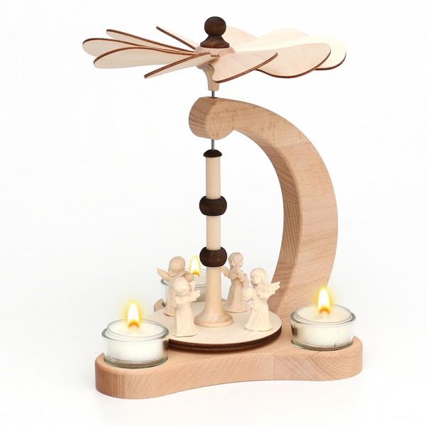 Holz Tischpyramide 4 Engel Figuren aus Südtirol für 3 Teelichte (Buchenholz) 14 x 18 x 24 cm
