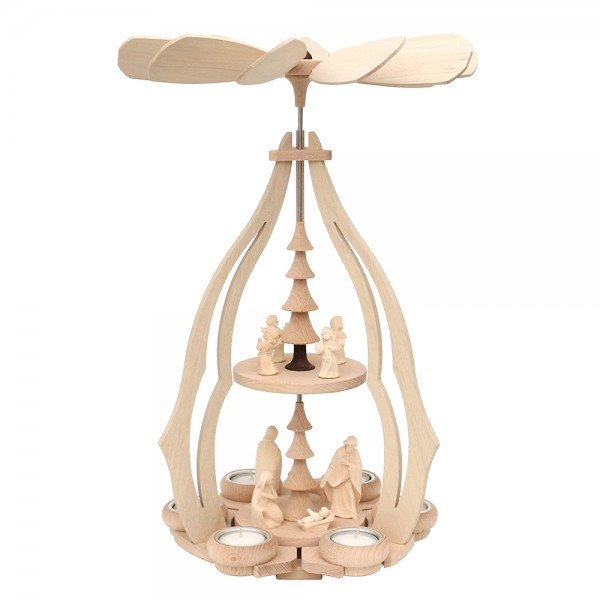 Holz Tischpyramide groß mit Heil. Familie + 3 Engelfiguren aus Südtirol für 6 Teelichte 24 x 24 x 45 cm