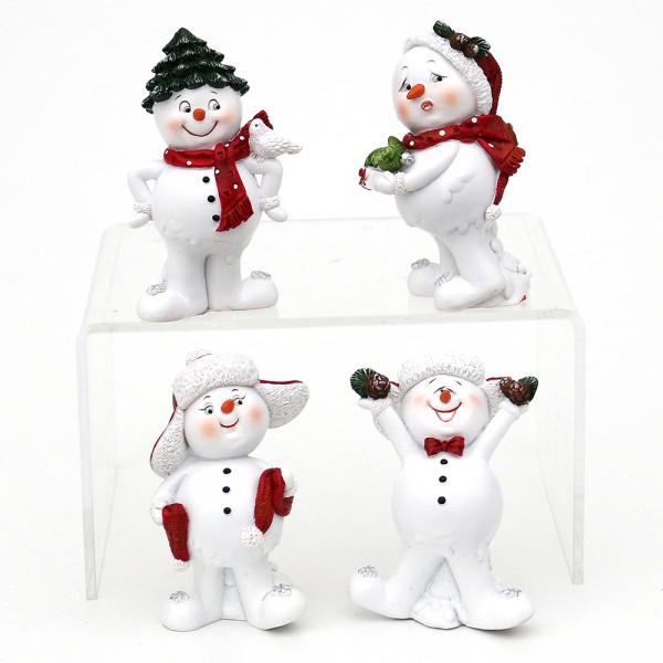 Polyresin Schneemann mit Weihnachtsdeko, rot/weiß 4-fach sort. 5,5 x 4,5 x 8 cm im Set