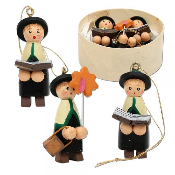 3er Set Holz Kurrendefiguren mit Anhänger, in Spandose 6 x 6 x 2,5 cm