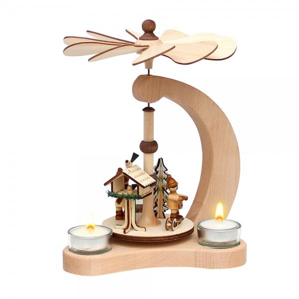 Holz Tischpyramide Vogelfütterung für 3 Teelichte (Buchenholz) 14 x 18 x 24 cm