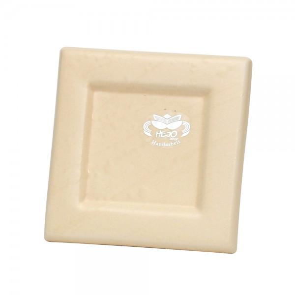 Keramik Kerzenplatte, Champagner 12,5 x 12,5 x 1,5 cm