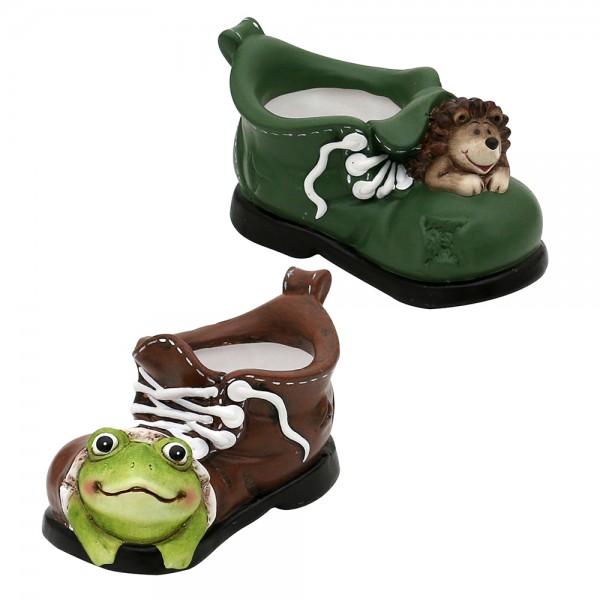 Keramik Dekofigur Frosch, Igel im Schuh mit Pot 2-fach sort. 16,4 x 9,2 x 8,8 cm Ø 6 cm im Set