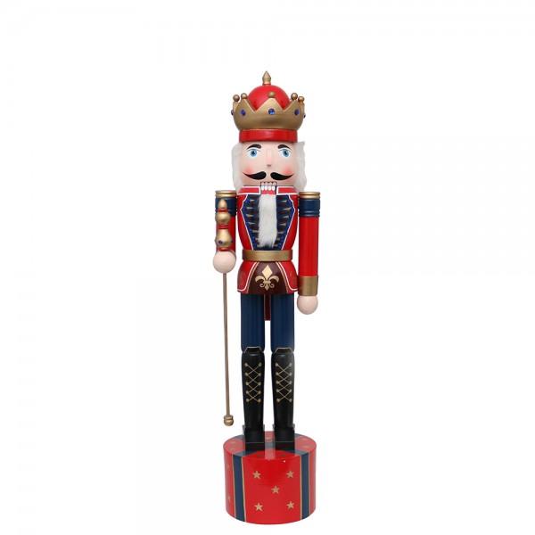 Holz Nussknacker Soldat König rot 22 x 20 x 90 cm
