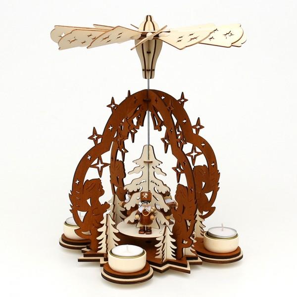 Holz Teelichtpyramide Sterntaler braun/natur, mit Bergleuten (Laserholz) für 4 Teelichte 23 x 23 x 29 cm