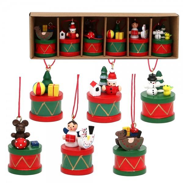 6er Set Holz Anhänger Trommel mit Dekospielsachen 3 x 3 x 5 cm