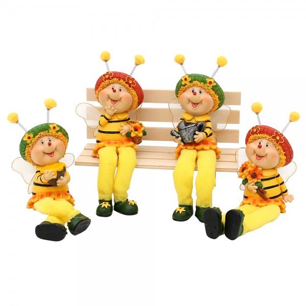 Polyresin Bienen Sarah & Marie Kantensitzer 4-fach sort. 7 x 5 x 19 cm im Set