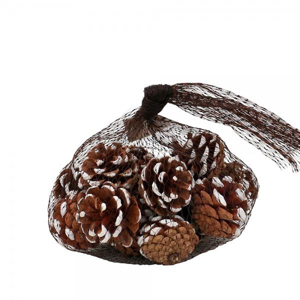 Kunststoff Weihnachts-Deko-Säckchen mit Zapfen verschneit 10 x 10 x 10 cm