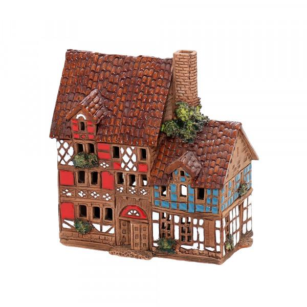 Keramik Licht-Duftölhaus (in Schornstein) Fachwerkhaus 11,5 x 6,5 x 12,5 cm