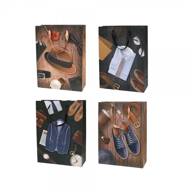 Papier Tragetasche Herren Accessoires 4-fach sort. 18 x 8 x 24 cm 3D im Set