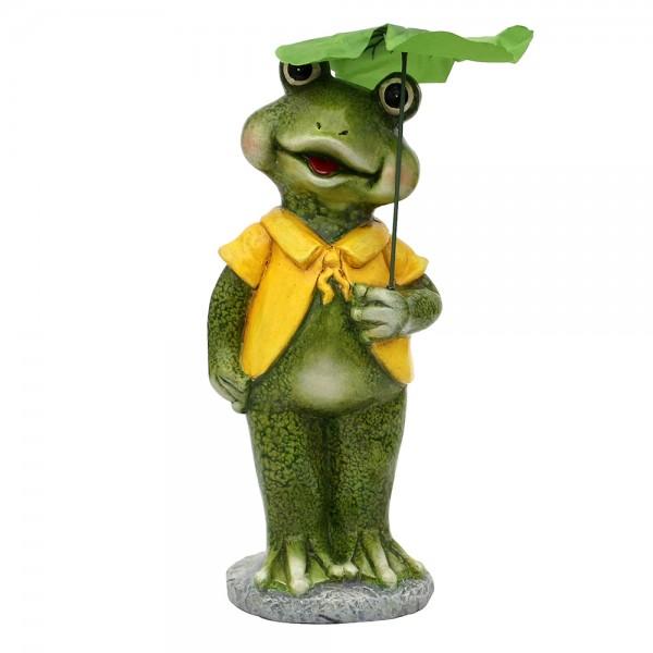 Keramik Froschfigur mit Schirm 14,5 x 11,6 x 33 cm