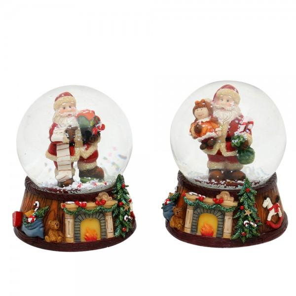 Polyresin Schneekugel Santa 2-fach sort. 7,5 x 7,5 x 9 cm Ø 6,5 cm im Set