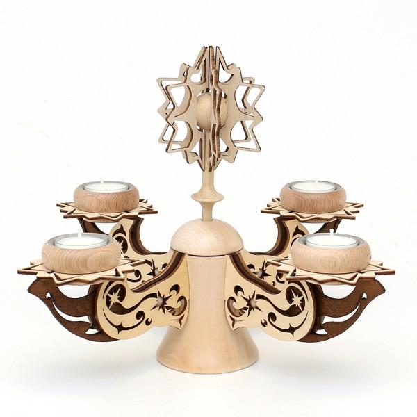 Holz Adventsleuchter mit Stern, natur/braun, edel verziert, für 4 Teelichte 28 x 28 x 26 cm