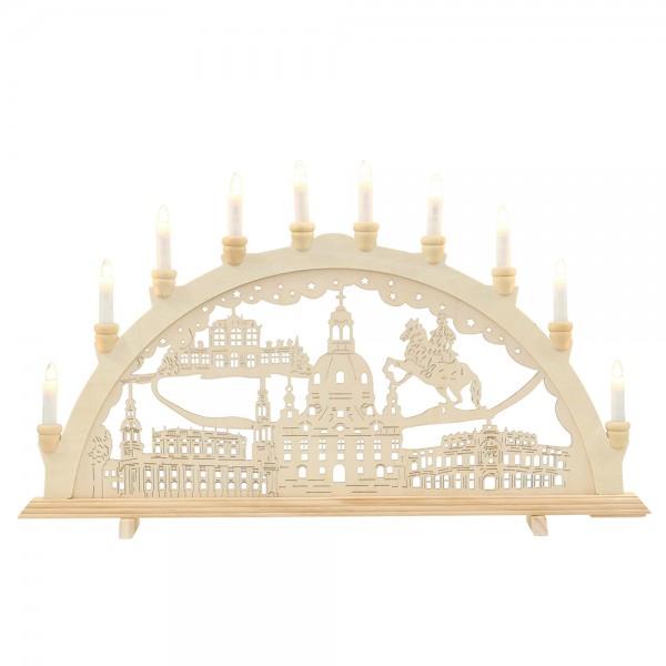Holz Schwibbogen Dresden 71 x 4 x 40 cm 230 V Kabel, 10 flammig, SPK, XXL