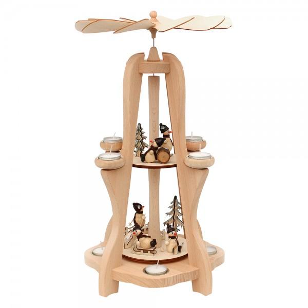 Holz Teelicht-Tischpyramide Schneemänner für 8 Teelichte (Buchenholz) 28,5 x 28,5 x 50 cm