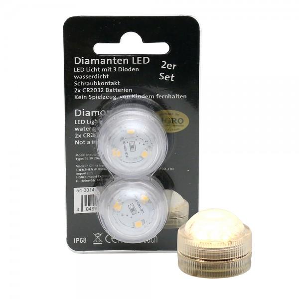 2er Set Kunststoff LED-Tauch-Teelicht mit 3 Dioden wasserfest, warmweiß 3 x 3 x 2,5 cm Ø 3 cm LED