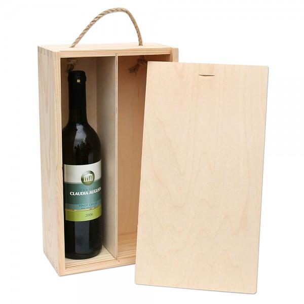 Holz Weinkiste für 2 Flaschen zum aufschieben, natur 20 x 10 x 36 cm